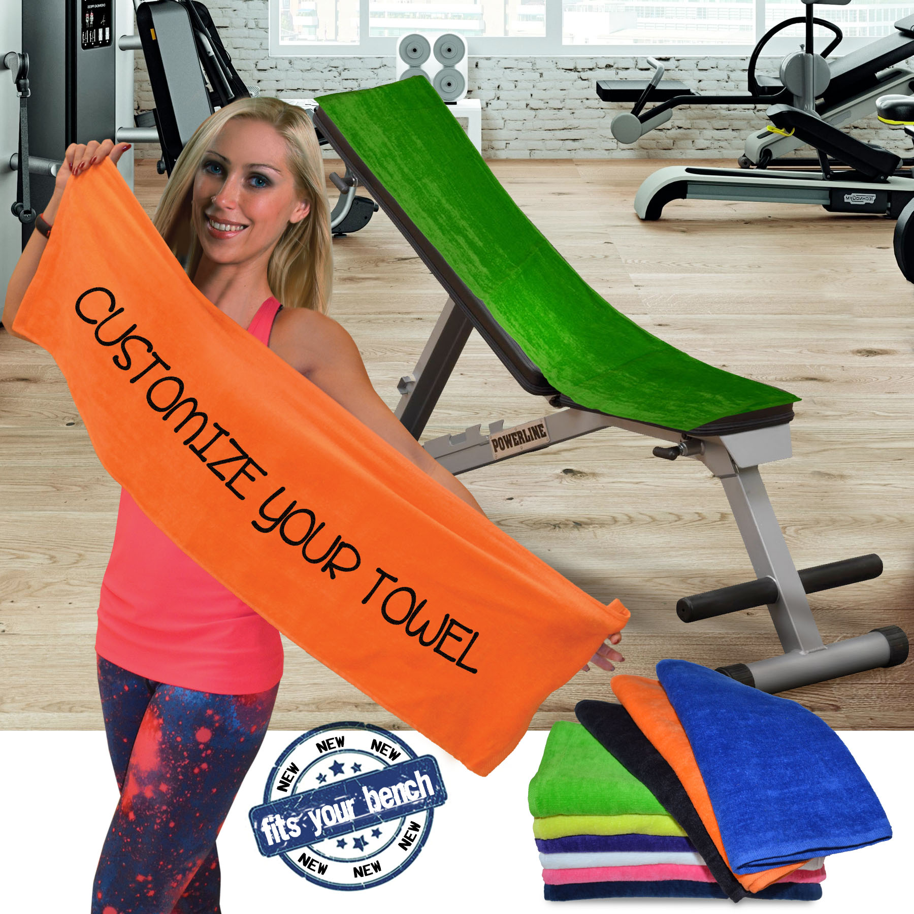 SILKSCREEN 100 % Cotton, 12x44 Terry Velour Gym towels. 2.9 Lbs/ Dz by Royal Comfort