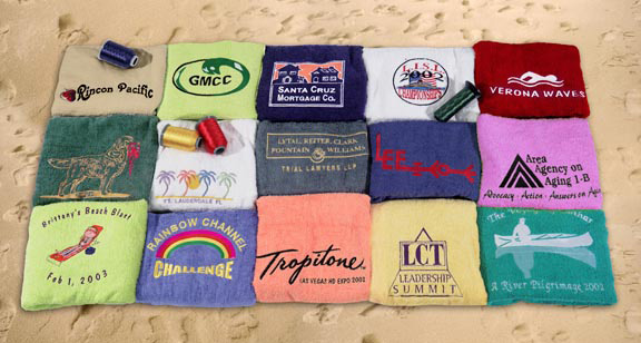SPECIAL EMBROIDERED Camp Towels 24x48 Bath Towel by Royal Comfort, 9.0 Lbs per dz, Combed Cotton