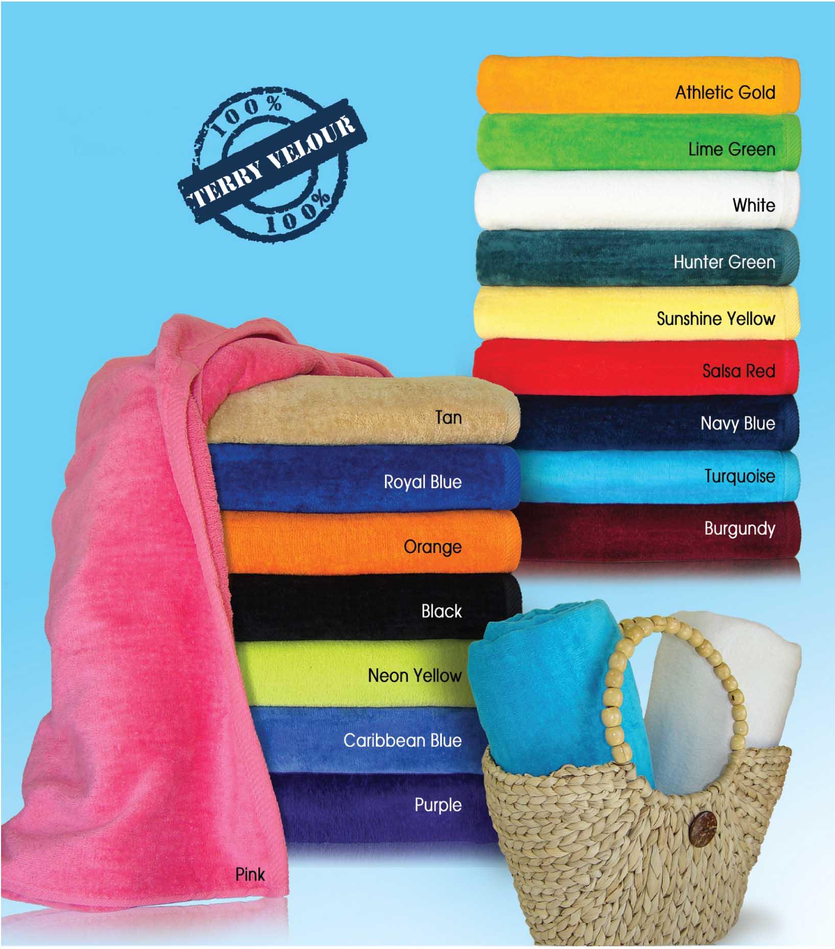 30x60 Terry Beach Towels 100% Cotton Velour, 11.0 Lbs/ Dz, 100 % Ring Spun Cotton.