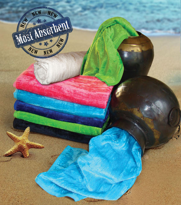 SILKSCREEN 32x64 Silky Velour Beach Towels. 16.0 Lbs/ Dz. By Paris Collection