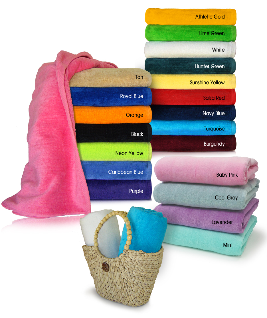 32x64 Terry Velour beach towels (assorted colors). 16.0 Lbs/Dz, 100 % Ring Spun cotton. 24 pcs per case.
