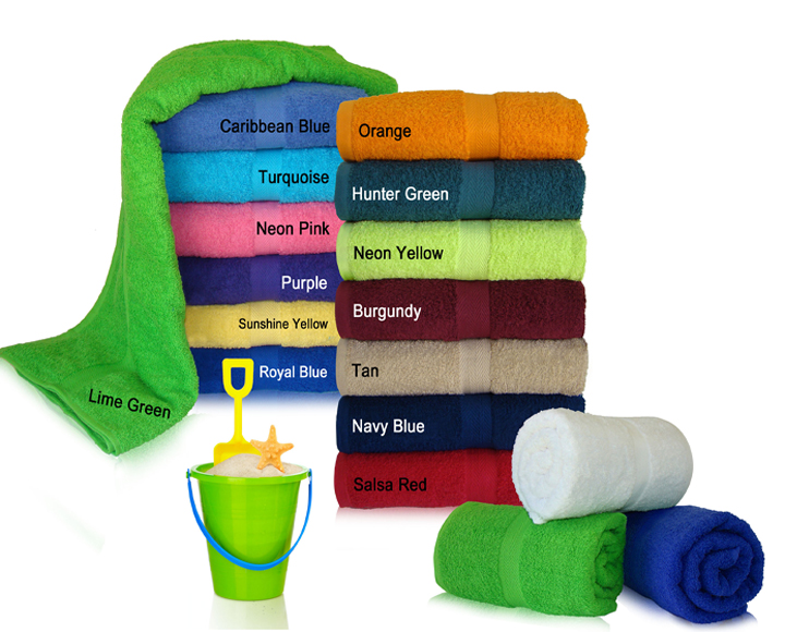 34x70 Terry Cotton Beach Towels (assorted colors). 19.0 Lbs/ Dz, 100 % Ring Spun cotton. 24 pcs per case.