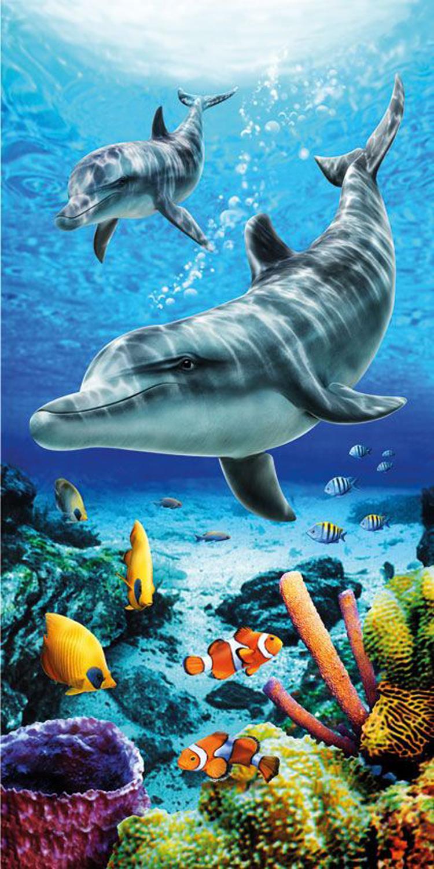 30x60 Life Blue Dolphins Fiber Reactive Beach Towel.