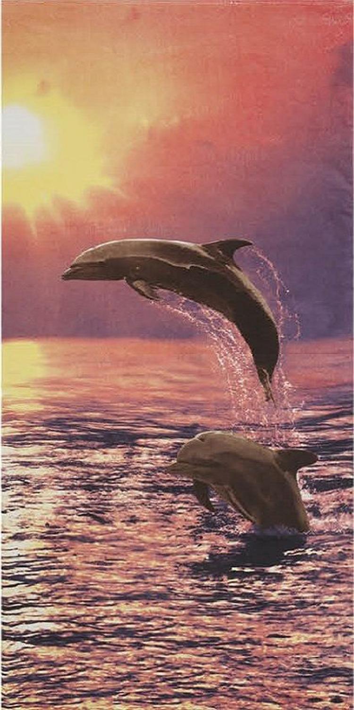 30x60 Sunset Dolphins Fiber Reactive Beach Towel.