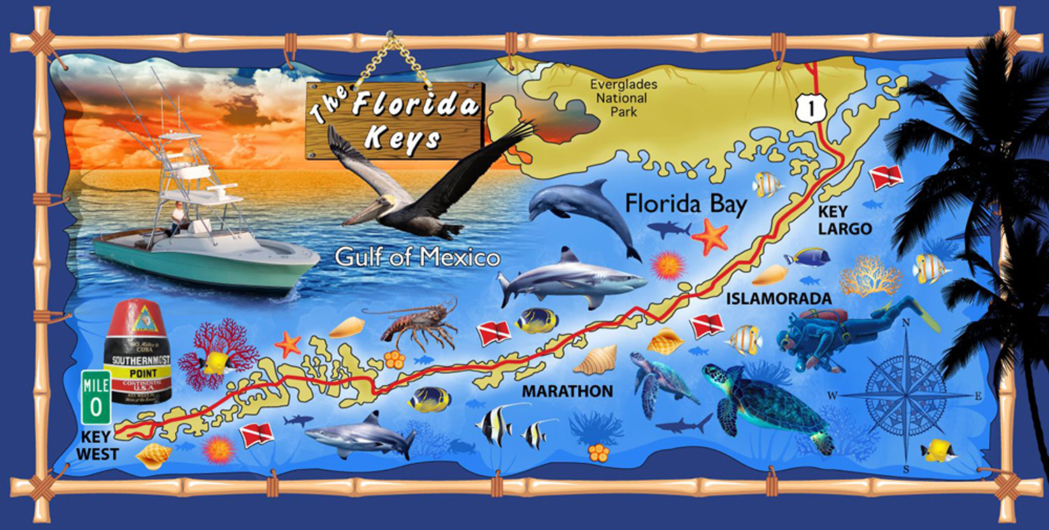 30x60 Florida Keys Map Fiber Reactive Beach Towel.