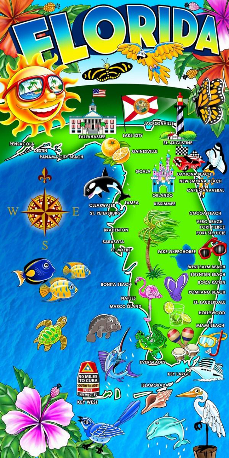 30x60 Florida Landmarks Fiber Reactive Beach Towel.