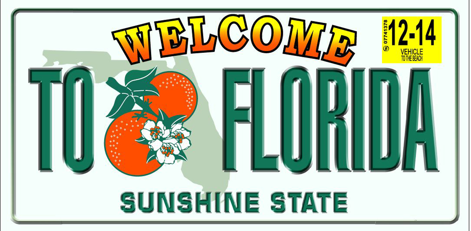 30x60 Florida License Plate Fiber Reactive Beach Towel.