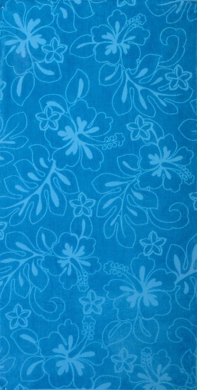 30x60 Solid Blue Hibiscus Fiber Reactive Jacquard Beach Towel.