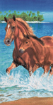 30x60 Horses in Water Fiber Reactive Beach Towel.