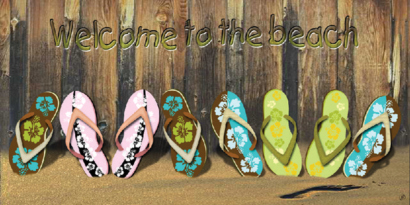 Welcome to the Beach Flip Flops Beach Towel
