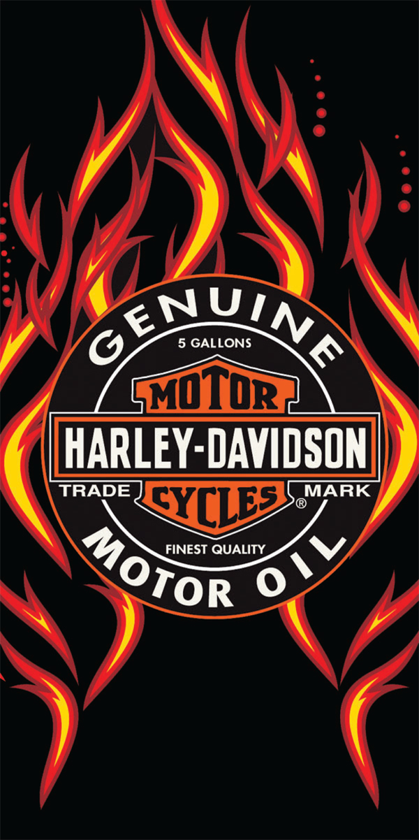 Harley Davidson Fire Oil Beach Towel