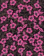 Neon pink & brown Hibiscus beach towels - 54x68