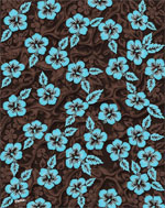 Brown & Turquoise Hibiscus beach towels - 54x68
