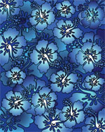 Blue & Turquoise Hibiscus Beach Blanket - 54x68