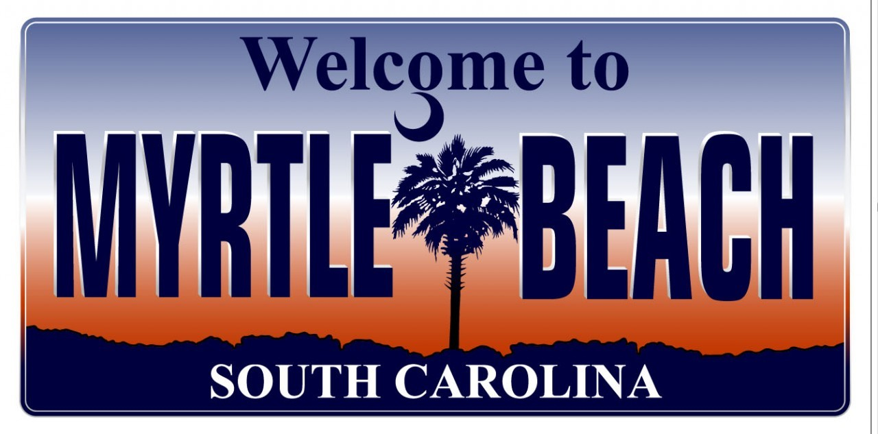 Welcome to Myrtle Beach South Carolina Plate Beach Towel