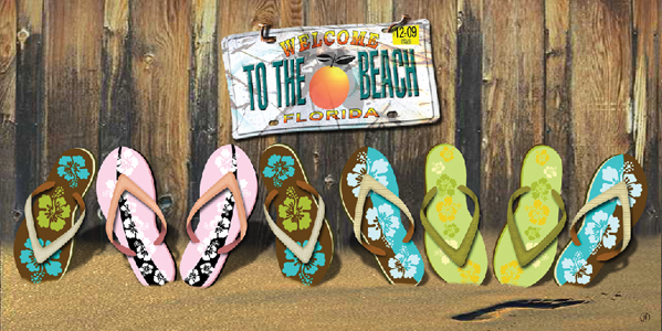 Welcome to the Beach Florida Plate Flip Flops Beach Towel