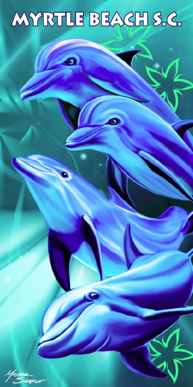 Happy Dolphins Myrtle Beach S.C. Beach Towel