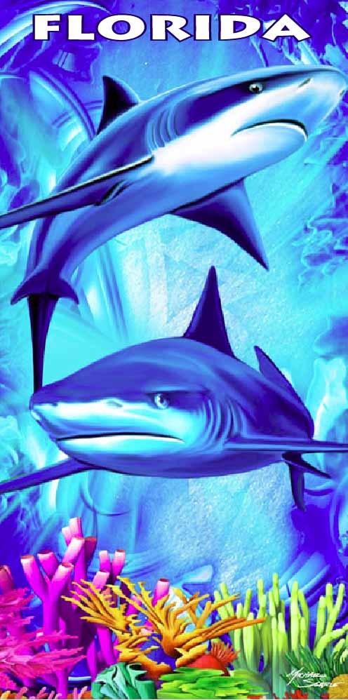 Roaming Sharks Beach Towel