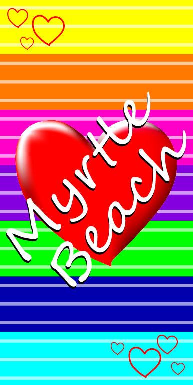 Myrtle Beach Rainbow Heart Beach Towel