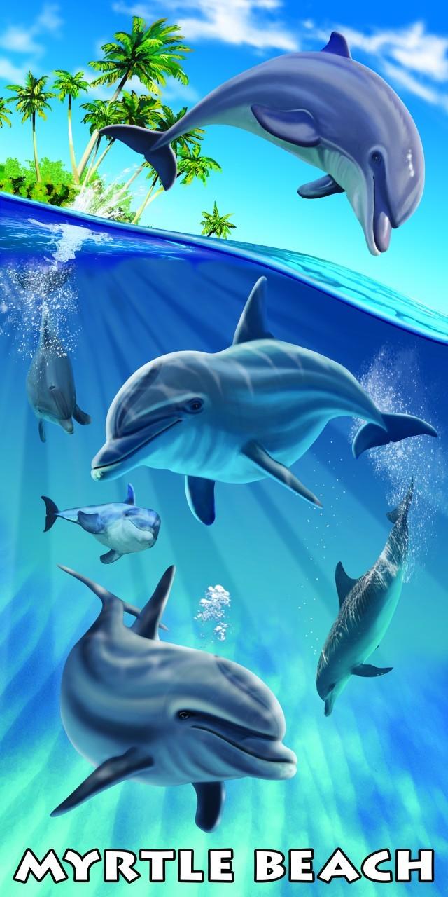 Myrtle Beach Island Dolphins Beach Towel