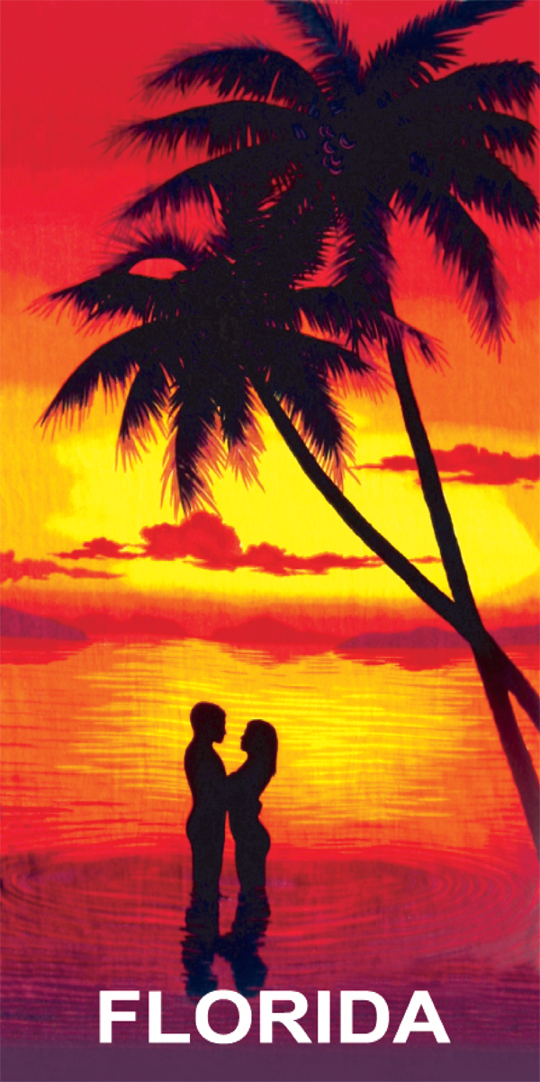 A Couple at Sunset Florida Beach Towel