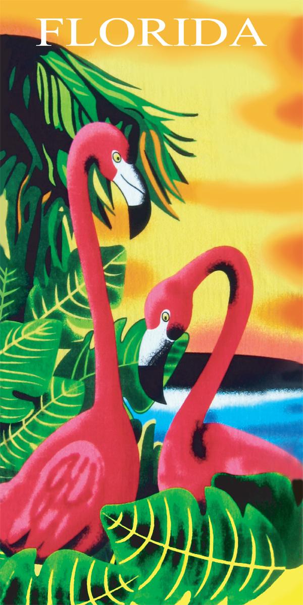 Flamingo Florida Beach Towel