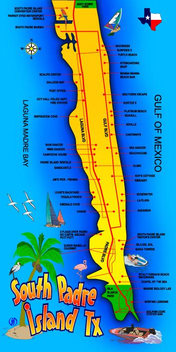 South Padre Island Map Beach Towel