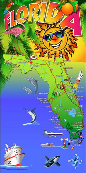 Florida Sunshine Map Beach Towel