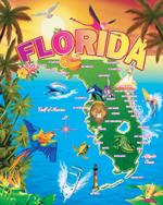 Florida Map Beach Blanket - 54x68