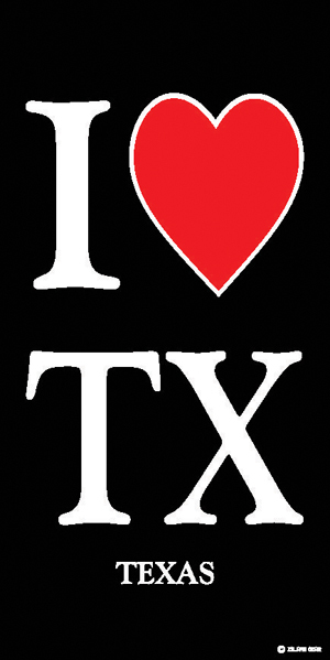 I Love Texas Beach Towel