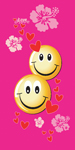 2 smiley faces on pink