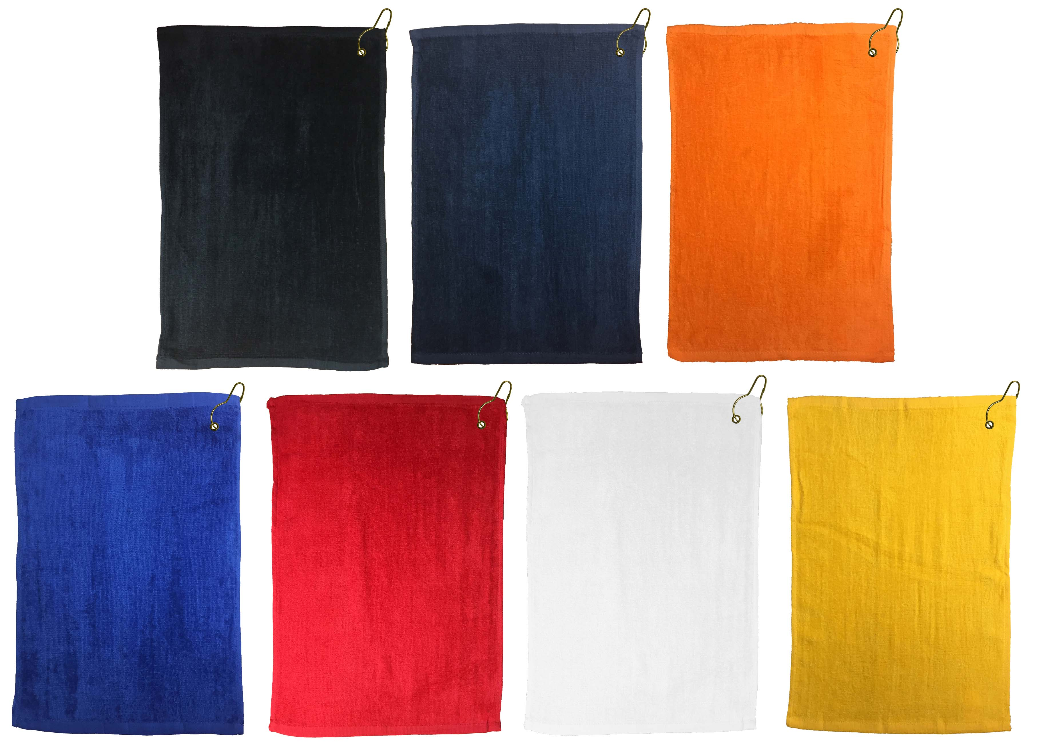 Economy Golf Towel 11x17 with Grommet and Hook, 100% Cotton. Terry Velour 1.0 lbs per dz. (Assorted Colors)