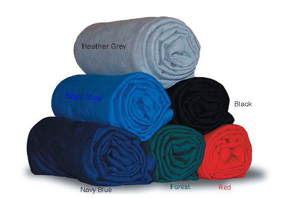 EMBROIDERED Sweatshirt Throw Fleece Blanket 50x60, 50% Cotton / 50% Polyester 380 g/y 19 Lb/Dz. Pack 24 pcs in a case. Minimum 1 case per order.
