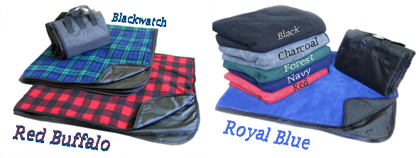 EMBROIDERED Water Proof Fleece Picnic Blanket - Plaids and solids