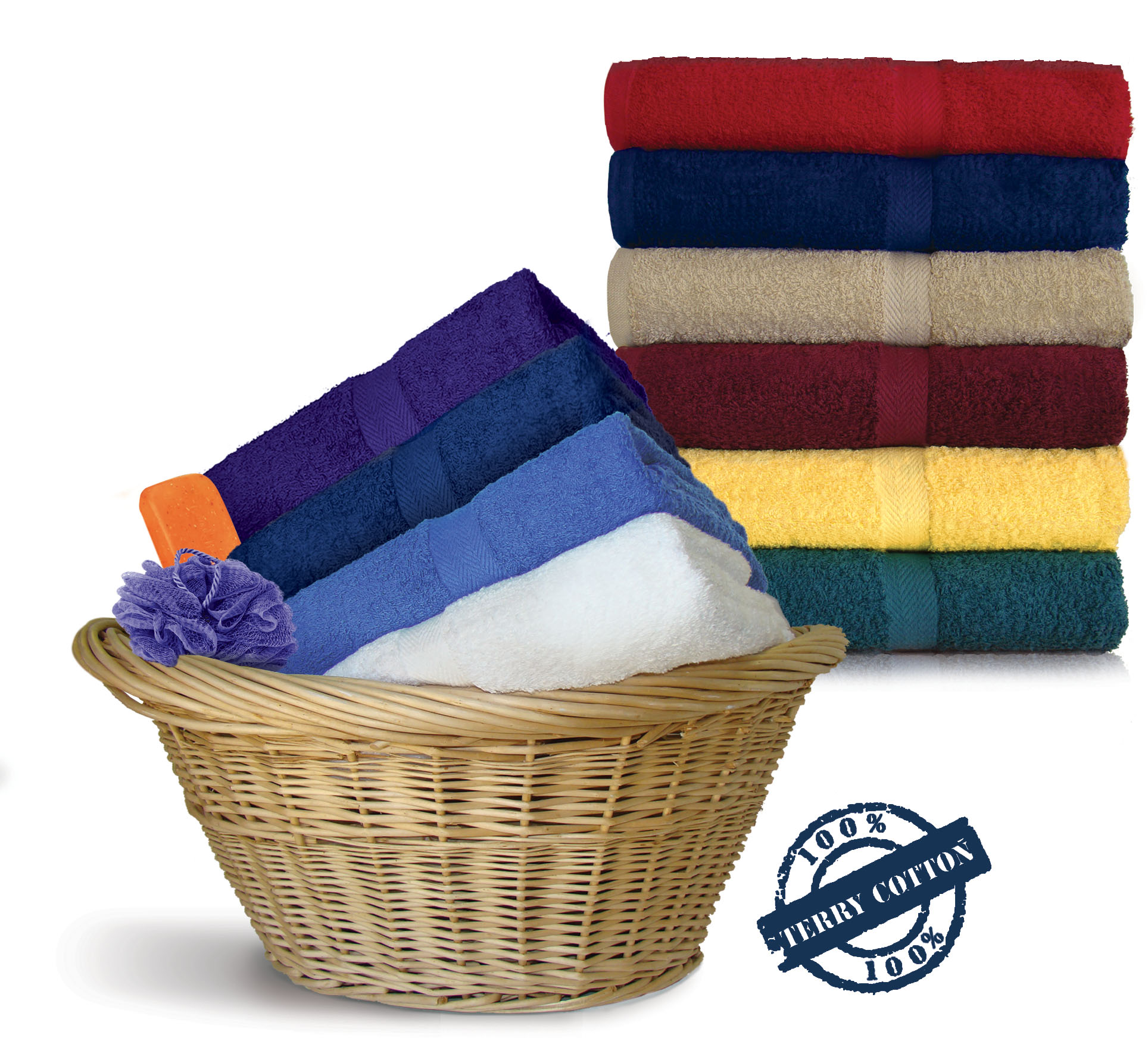 30x52 Shuttleless Loom Bath Towels by Royal Comfort, 14.0 Lbs per dz, Combed Cotton.(Assorted Colors) 24 per case.