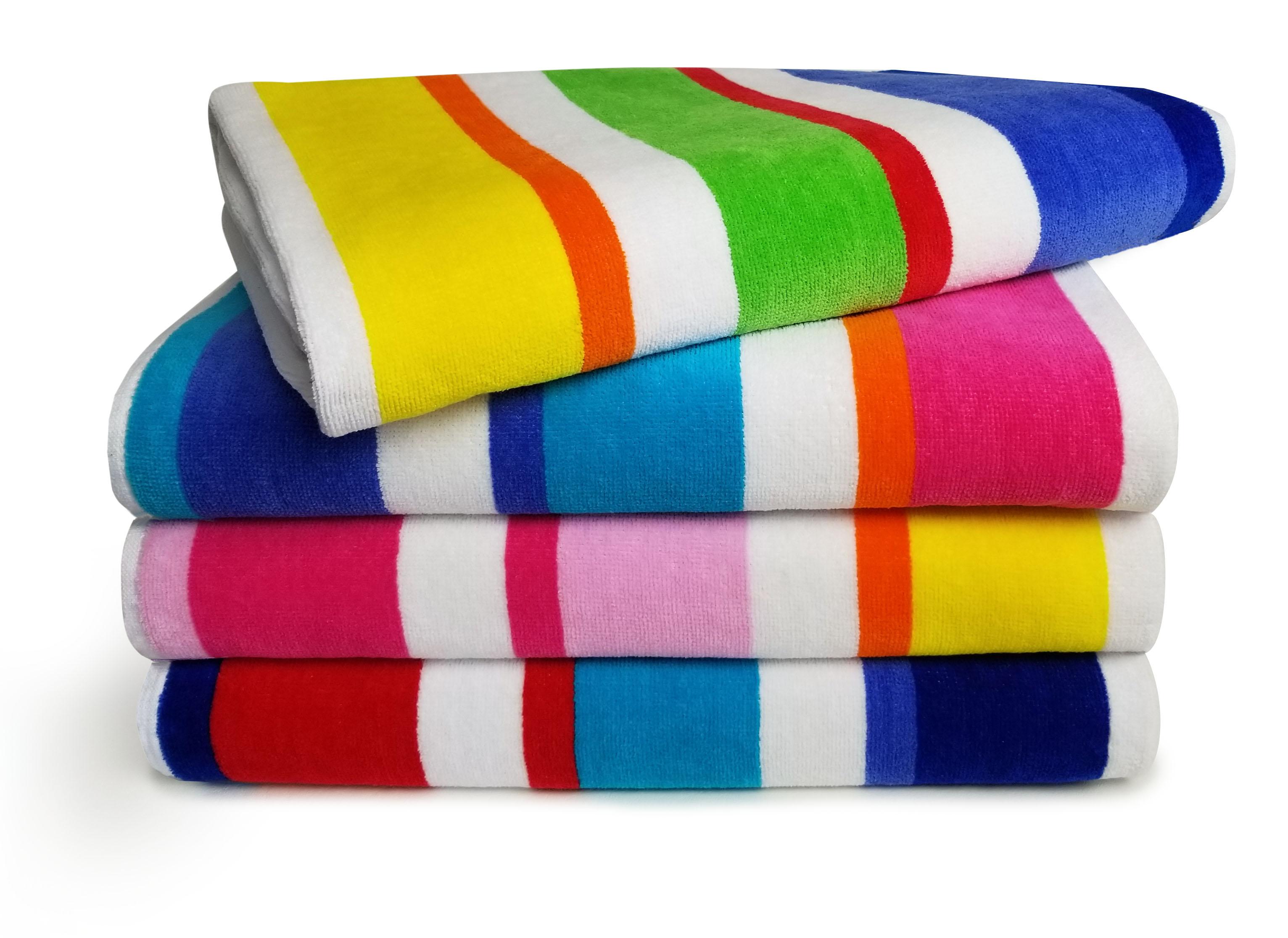 32x63 Terry Beach Towels Cotton Velour Maya Island Joy-Exclusive Multicolor, Cabana Stripe Beach & Pool Towel 14 lbs per doz, 100% Cotton.