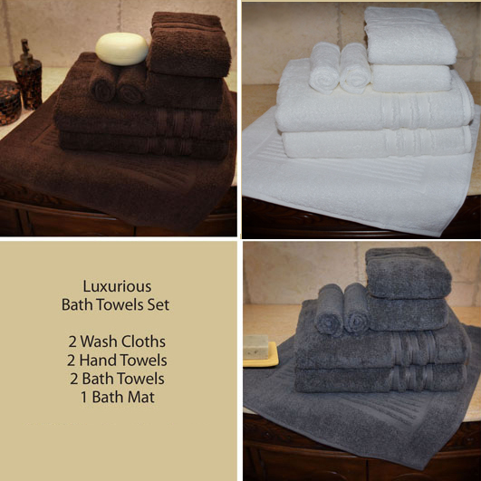SPECIAL DISCOUNT ! LIMITED TIME TILL IT'S GONE - 7 PCS Luxurious 100% Egyptian Cotton Bath Towel Sets by Luxury Egyptian