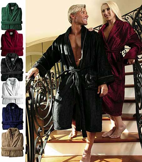 EMBROIDERED Royal Comfort bath robe Modal with fancy piping