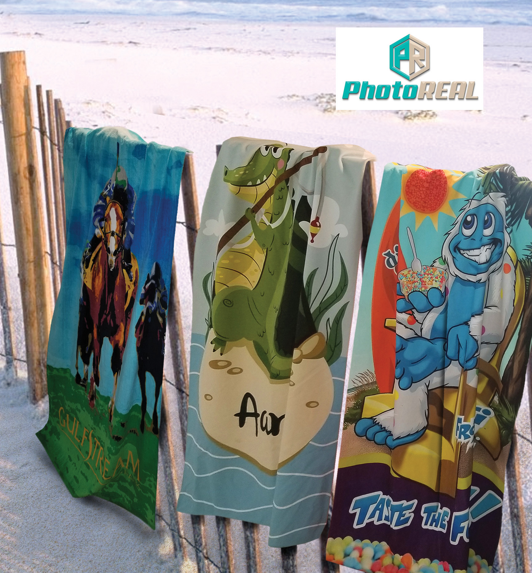 30x60 Full Color Cotton/Microfiber Edge to Edge Printed Beach Towels, 11.0 Lbs/ Dz. by Subli Mate™ using PHOTOreal™ technology.
