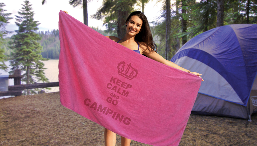SPECIAL SILKSCREENED Camp Towels - 30x60 Terry Beach Towels 100% Cotton Velour, 11.0 Lbs/ Dz.