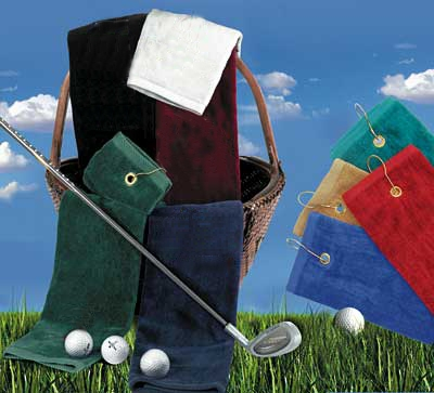 16x25 Tri-Folded Golf Towels with grommet and hook 100% Combed Cotton, 120 or 60 pcs per case.