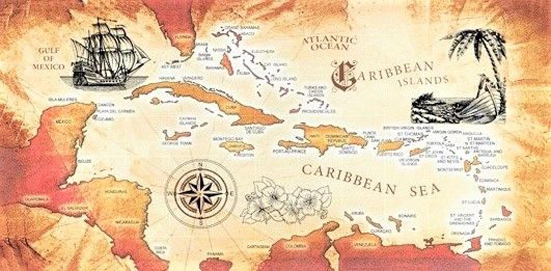 TowelsOutlet.com - 30x60 Caribbean Sea Map Fiber Reactive Beach Towel.