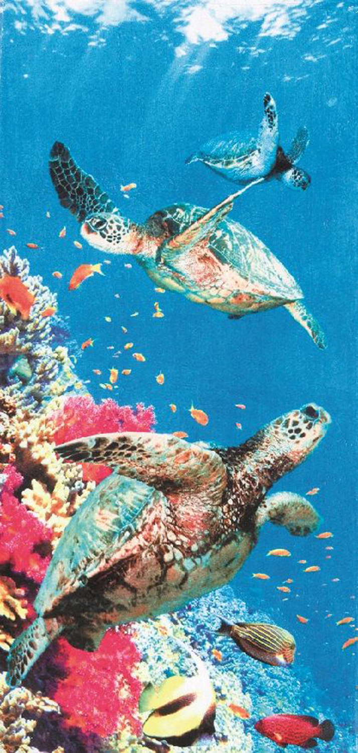 30x60 Coral Turtles Fiber Reactive Beach Towel.