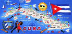 30x60 Cuba Map Fiber Reactive Beach Towel.