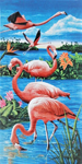 30x60 Flamingos & Lake Fiber Reactive Beach Towel.