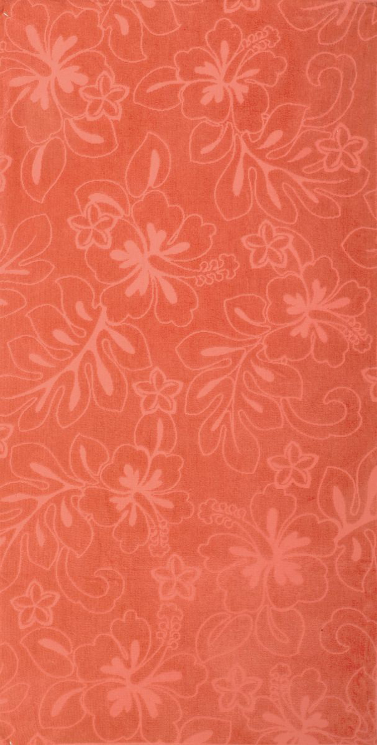 30x60 Solid Orange Hibiscus Fiber Reactive Jacquard Beach Towel.