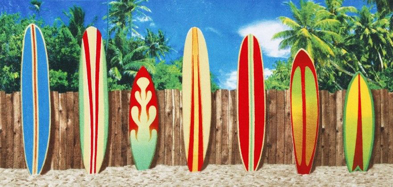 30x60 Surf Board on the Fence Fiber Reactive Beach Towel.