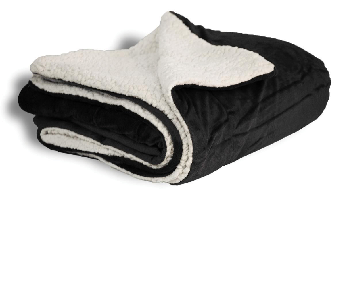 EMBROIDERED Black 50x60 Micro Mink Sherpa Blanket