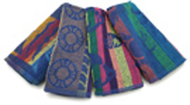 SILKSCREEN 29x59 Lightweight Economy Jacquard Assorted Design Towels. 100% Cotton. Low cost with colored varying colored designs
